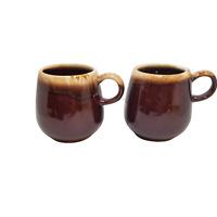LOT (2) VINTAGE McCoy USA Brown Drip Glaze Coffee Tea Mug 7025 Roly Poly Cups