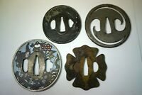 Tsuba Set x4 Eisen Antik aus Kyoto Japan 1013A2G