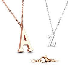 Collar Acero Inoxidable A -Z Letra Alfabeto Iniciales Oro Rosa Cadena de Plata