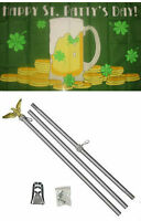 3x5 Happy St. Patty's Patricks Day Green Mug Flag Aluminum Pole Kit Set 3'x5'