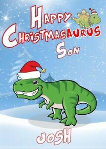 Personalised Dinosaur T-Rex (Son/Grandson/Daughter/Nephew) Christmas Card