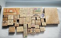 Lot 34 Wooden Rubber Stamp Birthday Wedding Stationary Stamps Invitation Holiday