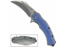 Spinal Tap Electric Blue Spring Assist Karambit Knife