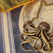 Unisex Octopus Necklace - Vintage Style - Retro Gold Colour - UK Stock