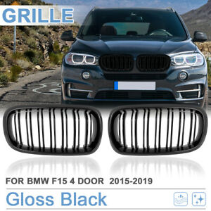 Gloss Black Front Kidney Grille Grill for BMW F15 X5 2015-2019 4 D Double Line
