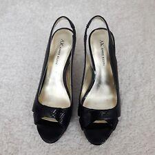 Anne Klein Black Peep Toe Leather Heels sling elastic Size 6  prom