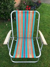 Vintage Retro Striped Folding Garden Deck Chair Wood Armrests VW Camping 60s 70s