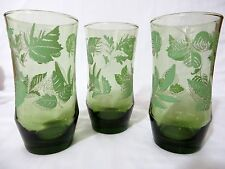Libbey Tumblers Green Glass & Leaves SET of THREE 16 ounces FREE SHIPPING