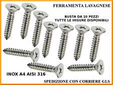 Viti autofilettanti inox A4 AISI 316 testa svasata piana DIN 7982 busta 10 pezzi