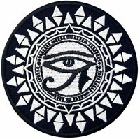 Eye of Horus and Sun Patch Embroidered Badge Biker Applique Iron On SewOn Emblem