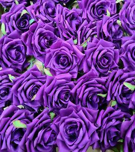 Purple Silk Open Roses Artifcial Flowers 10cm head 21 cm stem