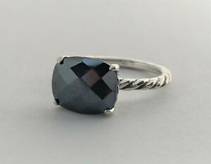 NWOT Sterling Silver Vermiel Spectacular Massive Hematite Elongated Ring Sz 8 RG1