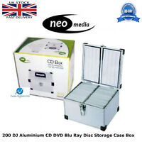2 x Neo Media 200 Capacity DJ Aluminum SILVER CD DVD Carry Case Box Partitioned
