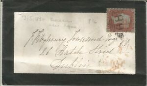 GB QV 1854 MOURNING COVER PENNY RED STAR 'QI' FROM BLACKBURN TO DUBLIN 13TH MAY