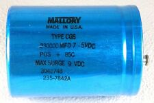New MALLORY 3042748 235-7842A  TYPE CGS Capacitor 230000 MFD/UF 7.5V DC