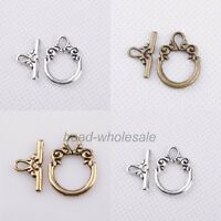 30sets Tibetan silver Decorative Pattern Toggle Clasp Findings For Craft DIY