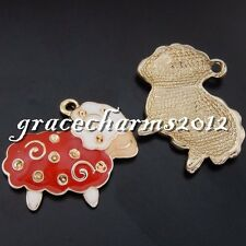 8x Vintage Gold Alloy Enamel Red Wool Sheep Pendants Findings Charms Craft 50619