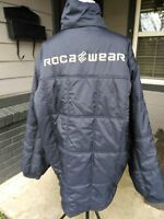 Mens XL Roca Wear Bubble Puffy Quilted Jacket Coat Navy Blue Zip Outerwear Urban