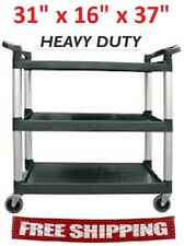 Update 3-Tier Bus Cart Utility Trolley Service Dining Black 31 x 16 x 37