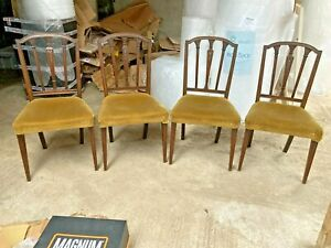 Vintage Antique Style Brown Wooden Dining Chairs x 4 Mustard Yellow Velvet Seats