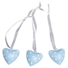 Glöckchen Glocke Katzenglöckchen Herz blau 6 Stück Größe  3x2,5 cm mit Bändchen