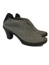 """Bernie Mev. Open/Peep Toe 3"""" Platform Heel Shoes Booties Woven Metallic Sz 40"""