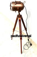 Antique Copper Nautical Floor Lamp Marine Searching Spot Light W/ Tripod Stand.