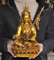 """12"""" Old Tibetan Buddhism Bronze gilt Guru Padmasambhava Rinpoche Buddha Statue"""