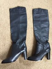 Womens Leather Boots Dark Blue Sz 37 ( 6-6,5 ) Made in Italy $99