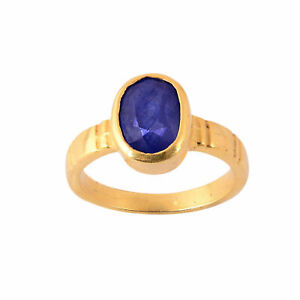 Natural Certified 6 Carat Blue Sapphire Handmade 14k Gold Plated Ring