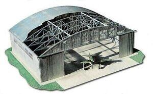 Military aviation hangar , laser-cut cardboard model kit HO 1/87