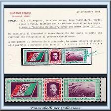 1933 Italia Regno Trittico Servizio Stato Aereo Certif. Sorani Nuovo Integro **