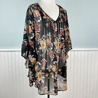 Size 2X Style & Co Plus Floral Semi Sheer Boho Peasant Top Blouse Shirt Plus NWT