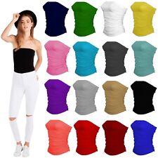 Ladies Side Ruched Boobtube Strapless Sleeveless Plain Bandeau Crop Bra Vest Top