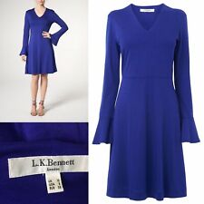 L K Bennett Cobalt Blue Cotton Jersey Dress Sz 10 Dr Amano Fluted Sleeves
