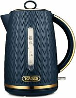 Tower Empire 1.7L Jug Kettle 3000W Textured Navy & Bronze 1 year Guarantee