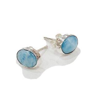 Larimar 925 Sterling Silver Stud Earrings