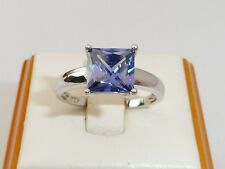 Señoras 925 Sterling Silver 1.5 quilates Princesa Cut Tanzanite Solitaire Ring