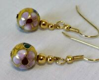 Vtg Women's Gold Tone Colorful Floral Enameled Cloisonné Bead Pierced Earrings
