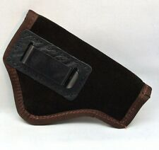 """SUEDE LEATHER INSIDE PANTS GUN HOLSTER FITS 3"""" REVOLVERS S&W, RUGER etc - BROWN"""