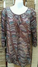 WAREHOUSE DEFINITIVES Ladies 3/4 Sleeve Long Stripe Top Size 12