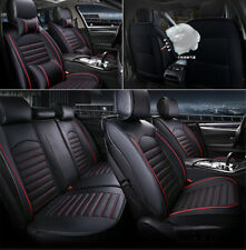 Deluxe 5-seats Universal Car Leather Cushioned Seat Cover Protector w/ 4 Pillows