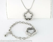 Flower Shape Floating Charm Locket Bracelet Necklace Set With SECURITY CLASP