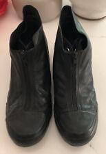 Converse Hidden Wedge Leather Zipper Sneakers Black 9