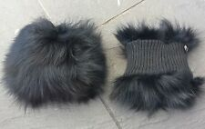 One Pair of Jet Black Real Genuine fox fur Cuffs Nylon Lining for Jacket Coat