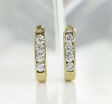 10K Solid Gold Stunning Cubic Zirconia Huggie Earrings