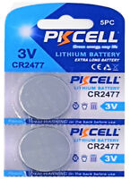 ☀️☀️☀️☀️☀️ 2 x CR2477 3V Lithium Batterie 900 mAh ( 1 Card 2 Batterien ) PKCELL