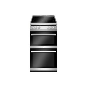 Amica AFC5100SI 50cm Double Cavity Electric Cooker with Ceramic Hob - Silver