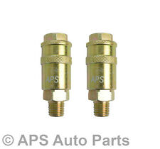 """2 x 1/4"""" BSP Quick Release Male Thread Air Line Hose Fitting Connector"""