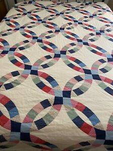 Vintage Double Wedding Ring Quilt Top & Back Fabric 91x91 queen #108